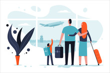 Family In The Airport Terminal With Luggage. Passengers And Travel Vector Cartoon Flat Concept Illustration.