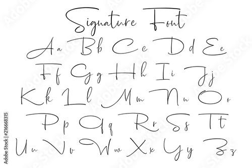 Fotografía  Signature font alphabet