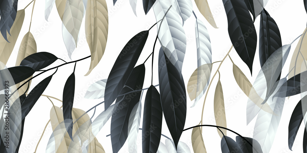 Fototapeta Seamless pattern, black, golden and white long leaves on light grey background
