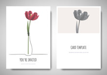 Minimalist Greeting/invitation Card Template Design, Red Tulip Flower In Simple Line Vase On White Background