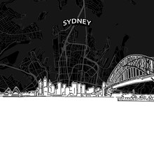 Sydney Skyline With Map