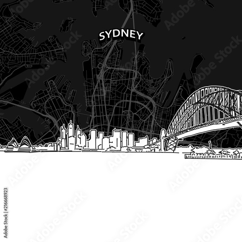 Fotografie, Obraz Sydney skyline with map