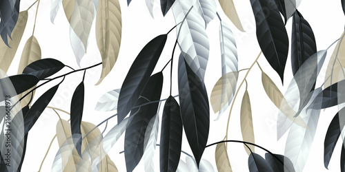 fototapeta na lodówkę Seamless pattern, black, golden and white long leaves on light grey background