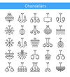 Ceiling lamps & lights. Different types of chandeliers. Set of hanging light fixtures for home and office. Line icon collection.