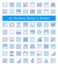 Blinds & Shades. Sun Protection. Different Kinds Of Jalousies. Line Icon Collection.