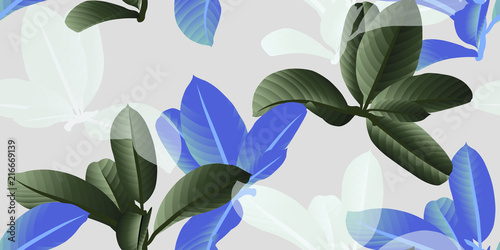 Motiv-Fußmatte - Seamless pattern, green, blue and white leaves on light grey background (von momosama)