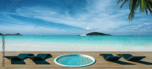 Fotobehang Oceanië Beach chairs and Bath on idyllic tropical white sand beach 3d render