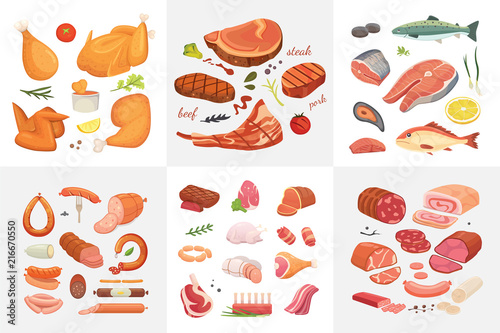 Photo  Different kind of meat food icons set vector