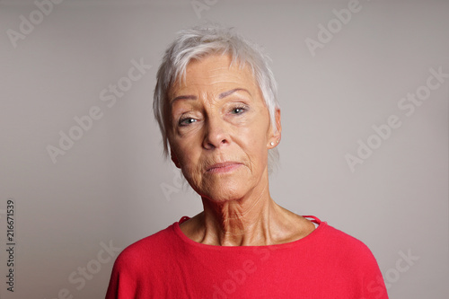 serious mature woman with her head held high