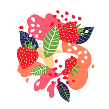 Strawberries On Abstract Background. Vector Illustration.