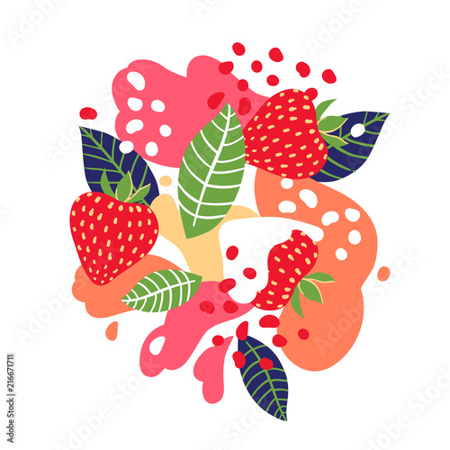 Strawberries on abstract background. Vector illustration. - 216671711