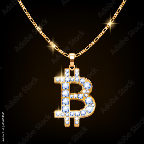 Bitcoin sign jewelry necklace on golden chain. Canvas Print