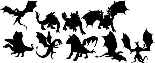 ロールプレイングゲームのドラゴンのシルエット