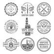 Vape shop set of nine vector vintage black emblems