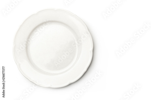 White plate, overhead view on a white background