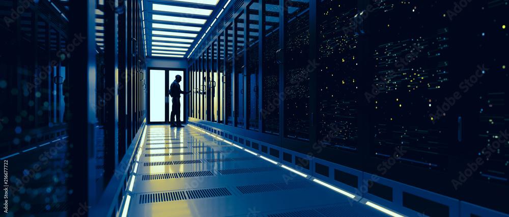 Fototapeta Backup cloud data service center. 3D rendering