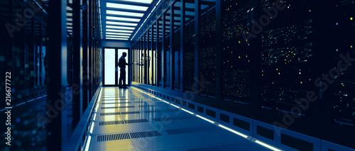 Stampa su Tela Backup cloud data service center. 3D rendering