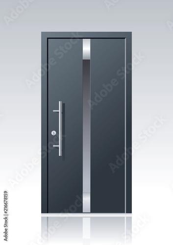 Photo  Moderne graue Vektor Haustür mit Glasauschnitten und Edelstahlapplikationen