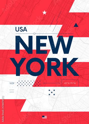 Typografia grafika kolor plakat z mapą Nowego Jorku, ilustracji wektorowych podróży