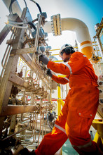 Technicain,Technician During Work In Process Oil And Gas Platform Offshore