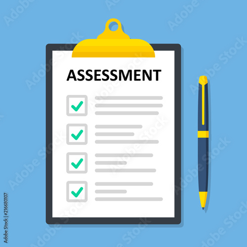 Photo Clipboard checklist with assessment