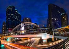 Traffic Lighting On Sathorn Road, Business Center Of Bangkok,Thailand