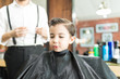 Cute Boy After Haircut In Barber Shop