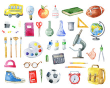 Set Of School Items On White Background.