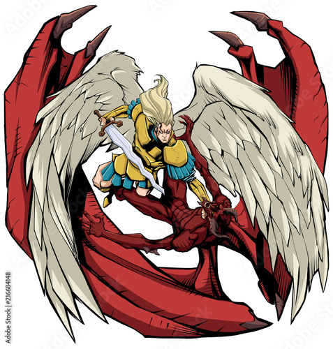 Line art illustration of Archangel Michael defeating Satan. Wallpaper Mural