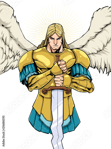 Full color illustration of Archangel Michael holding his sword. Wallpaper Mural