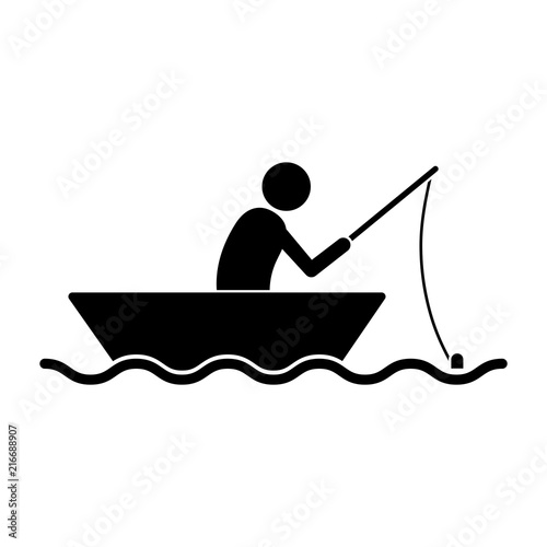 Simple Flat Black Silhouette Fishing Boat Icon A Person Fishing In A Small Boat Isolated On White Buy This Stock Vector And Explore Similar Vectors At Adobe Stock Adobe Stock