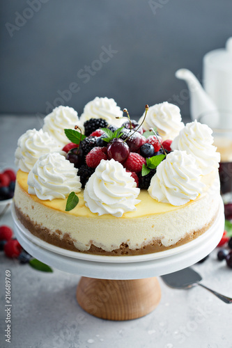 Fotografie, Obraz  Classic New York cheesecake decorated with whipped cream