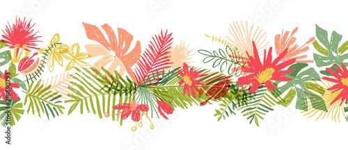 Ręka tropikalny kwiat granicy, wektor ilustracja na białym tle. Bukiet kwiatowy, liść egzotycznej rośliny, doodle styl