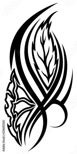 01044102d Black flower tribal tattoo on white background - Buy this stock ...