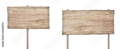 Photographie old weathered light wood sign isolated on white background 4