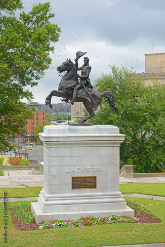Poster Historisch mon. Andrew Jackson Statue in State Capitol at the center of Nashville, Tennessee, USA.
