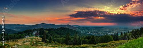 Foto auf Leinwand Gebirge View for Równica peak in Beskidy mountains