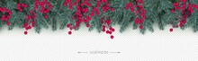 Realistic Branches Of Christmas Tree And Holly Berries Xmas And New Year Seamless Border