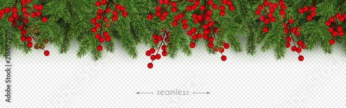 Fototapeta Christmas, New Year seamless border Realistic branches of Christmas tree and hol