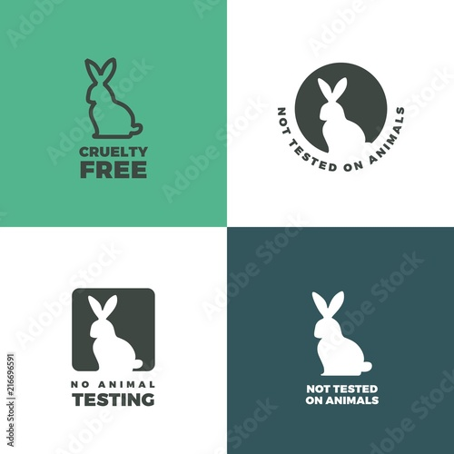 Set of icons with a rabbit as a symbol of animal cruelty free. Bunny icons with titles Cruelty free, Not tested on animals, No animal testing