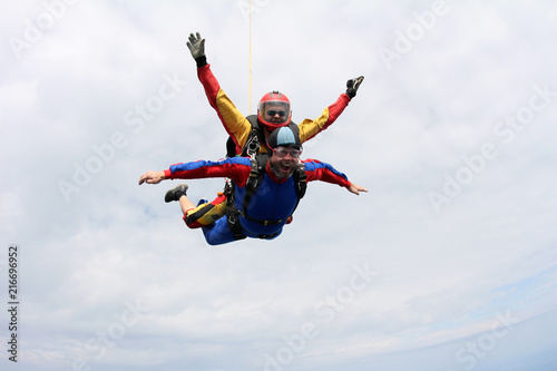 Tuinposter Helicopter Skydiving. Tandem jump.