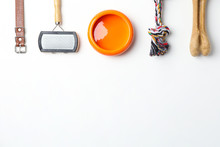 Flat Lay Composition With Accessories For Dog On White Background. Pet Care