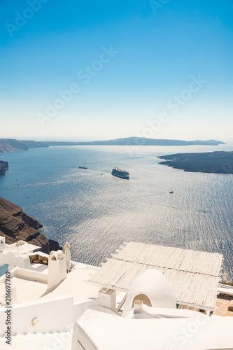 Fototapeta view of Santorini caldera in Greece from the coast obraz