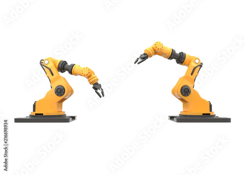 Photo robotic arm on white background. 3D illustration