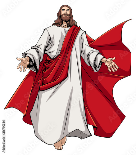 Stampa su Tela Illustration of Jesus Christ greeting you with open arms.
