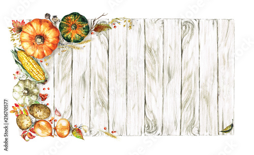 Poster Watercolor Illustrations Autumn Vegetables. Watercolor Illustrations.