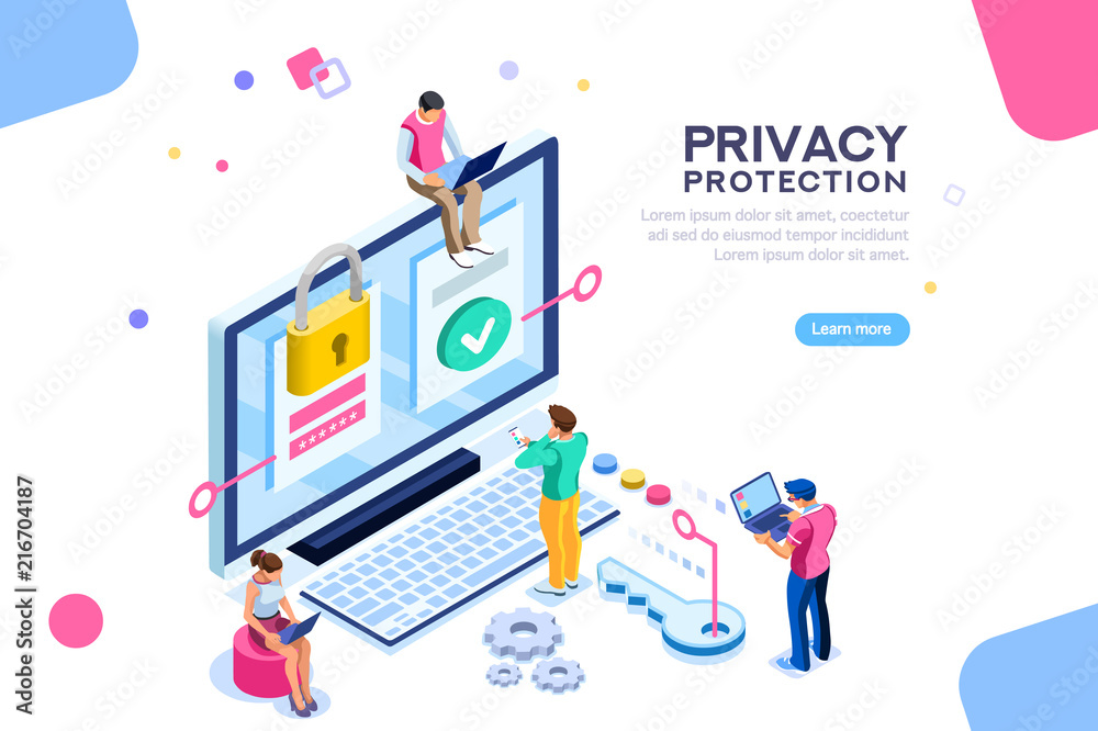 Fototapeta Vr, virtual augmented reality and futuristic banking concept with characters. Gadget of the future, smartphone tech for payment. Flat Isometric character vector illustration.