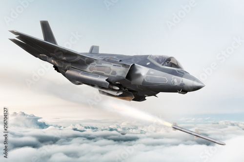 F35 advanced military aircraft locking on target and firing Missile's . 3d rendering