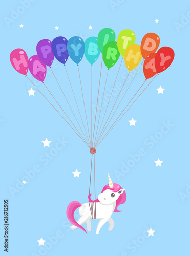 Poster Pony Happy birthday greeting card with cute unicorn and balloons. Vector illustration