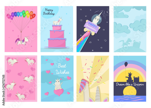 Cuadros en Lienzo Set of Birthday greeting cards and invitations with unicorns